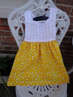 Honeybee Print Crochet top dress Girls summer by SimplySpindle, $24.00