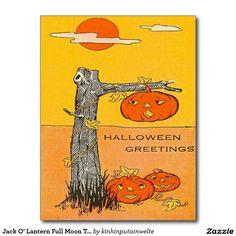 Jack O' Lantern Full Moon Tree Postcard