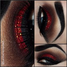 red shadow & gold glitter! Wow