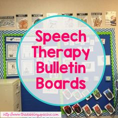 "Who said bulletin boards were just for classroom teachers?  Speech therapy bulletin boards can add function and color to your room! Back when I first started my career, making my room ""cute"" and ""color coordinated"" wasn't really my thang.  I often had office rooms that  shared with psychologists or RSP teachers or I was stuck …"
