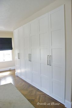 Ikea Pax wardrobes used as built-in closets. Jewels at Home. More