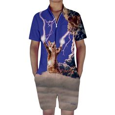 9476784aeb6 Short Sleeve Summer Cat Men Rompers Tag a friend who would love this! FREE  Shipping