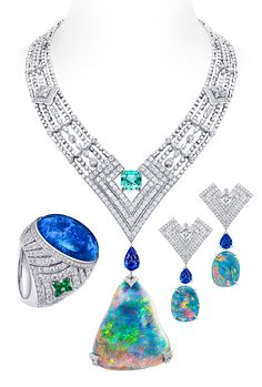Louis Vuitton Acte V Genesis Opal necklace, earrings and a ring with diamonds