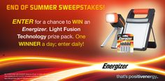 I just entered to win an Energizer® Light Fusion Technology prize pack. You can too! Click on this link to enter.