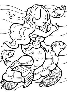 Little Mermaid Coloring Pages : Print out these mermaid coloring sheets and let her imagination ride wild with crayons.