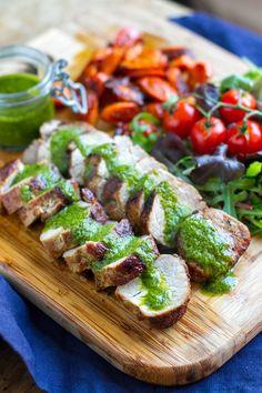 Roasted Pork Tenderloin With Salsa Verde & Balsamic Carrots