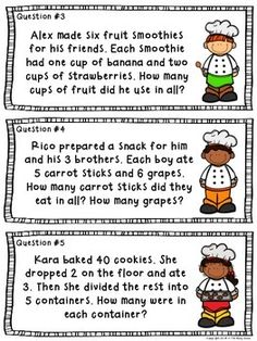 Cooking with Multiplication and Division - two math centers included with response sheets and answer keys. Multi-step word problems and create your own problems included. Bonus two-page assessment, as well.