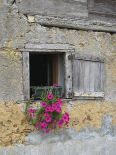 Pop of color to brighten the facade of this home Vintage Windows, Old Windows, Arched Windows, Windows And Doors, French Country Style, French Country Decorating, Rustic Style, Window Shutters, Window Boxes