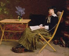 Werenskiold, Erik Theodor (b,1855)- Sitting w Book, Next to Table, 1881 -2a