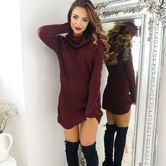 Knit dress and high boots