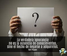La verdadera ignorancia no es la ausencia de conocimientos...