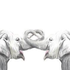Elefante amor Làmina Acuarela original pintura por triplestudio, $7.00