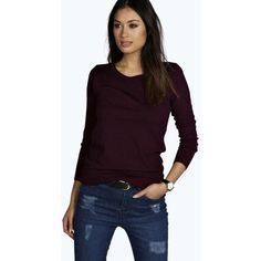 Boohoo Harriet Long Sleeve Basic Jumper ($16) ❤ liked on Polyvore featuring tops, sweaters, wine, cropped jumper, cropped sweater, purple jumper, layered crop top и long sleeve tops