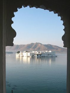 Taj Lake Palace Hotel, Udaipur, India. Got very very ill on boat trip over