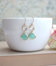 ♥´¨)  ¸.•´ ¸.•*´¨)  (¸.•´ ♥ ~ Beautiful pair of earrings made with gold trimmed mint opal glass drops and gold trimmed clear glass square connectors.