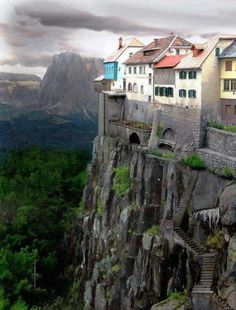 While the cliffside village of Ronda, Spain DOES exist this photo is NOT real, it is a Photoshopped image. Click the link for real photos of Ronda, Spain. Dream Vacations, Vacation Spots, Places To Travel, Places To See, Places Around The World, Around The Worlds, Wonderful Places, Beautiful Places, Amazing Places