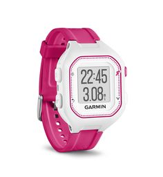 Garmin Forerunner 25, Small - White and Pink. COMPACT - Forerunner 25 provides a larger display in a thinner watch with a 32% larger active display area than the Forerunner 15. CONNECTED FEATURES - Instantly share runs and activity tracking progress with friends, family and the world via social media by pairing a compatible device with Garmin Connect TM Mobile. GPS - Acquire satellites quickly to track how far, how fast and where you run - even under tree cover. ACTIVITY TRACKING Count…