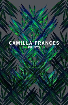 Bold dark leaf graphics by Camilla Frances Textile Prints, Textile Design, Textiles, Floral Prints, Tropical Prints, Surface Pattern, Pattern Art, Surface Design, Cool Patterns