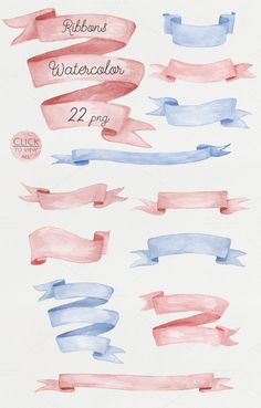 Check out Watercolor ribbons set #2 by NataliVA on Creative Market