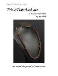 Beadwoven Necklace Tutorial Triple Twist Necklace by Nancy Dale of NEDbeads Beading Projects, Beading Tutorials, Craft Tutorials, Jewelry Show, Jewelry Making, Beaded Jewelry, Beaded Bracelets, Right Angle Weave, Herringbone Stitch