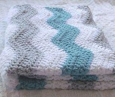 Pink and Gray Chevron Baby Blanket - Crochet Baby Blanket ...