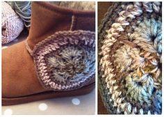 Crochet African Flower Hexagon addons to Uggs