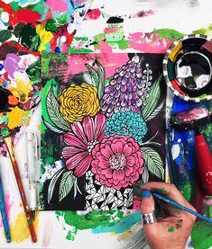 a peek into my process from Alisa Burke Wall Painting Decor, Painting & Drawing, Alisa Burke, Doodle Art Drawing, Milanesa, Flower Doodles, Outdoor Art, Teaching Art, Art Techniques