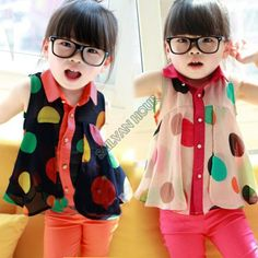 2014 schattige prinses kinderen zomer baby meisjes mouwloze chiffon blouses tops grote revers stippenpatroon kinderen blouse shirts b8 17132...
