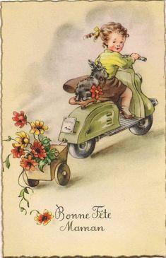 """Carte ancienne """"Bonne fête maman"""" : fillette en scooter et carriole avec bouquet de fleurs  { Mary Posy aime ! }"""
