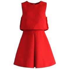 Chicwish My Heart Goes On Tiered Red Dress (€54) ❤ liked on Polyvore featuring dresses, red, lining dress, red tiered dress, tiered dress, red heart dress and no sleeve dress
