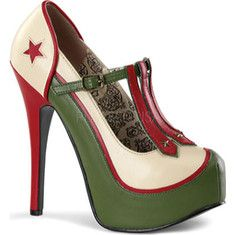 Bordello Teeze 43 - Cream/Olive Green PU with FREE Shipping & Returns. Stand at attention in these sexy military themed T-Strap pumps on a 5 3/4
