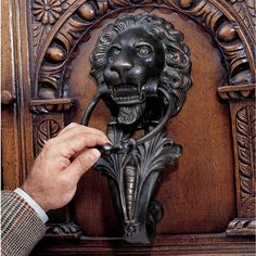 Features:  -Solid cast iron construction.  -Hand finished.  Door Type: -Exterior.  Finish: -Iron.  Style: -Traditional.  Product Type: -Door knocker.  Hand Painted: -Yes. Dimensions:  -Spacing of the