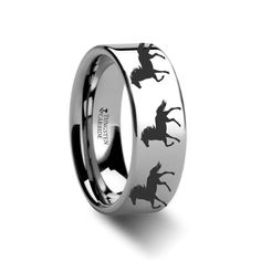 Thorsten Nature Animal Wildlife Deer Track Print Pattern Ring Flat Black Tungsten Ring 8mm Wide Wedding Band from Roy Rose Jewelry