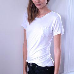LEEAN V NECK POCKET TEE Super Soft basic tee feature in V-neck style Regular fit Colour: White& Light Grey Size:Free Measurement: (cm) ( Fits AU 6-8)  w/ grey shirt