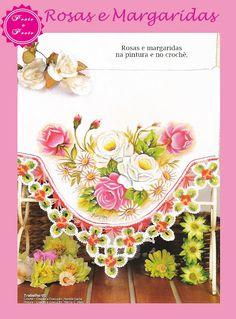 Ponto a Ponto: Pintura em Tecido e Crochê - Rosas e Margaridas