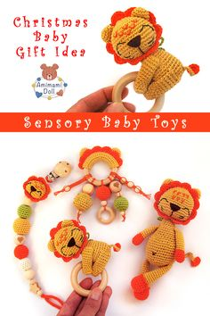 Baby Sensory Toys, Montessori Baby Toys, Baby Gift Sets, Baby Gifts, Lion Toys, Eco Friendly Toys, Baby Christmas Gifts, Amigurumi Toys, Wooden Toys