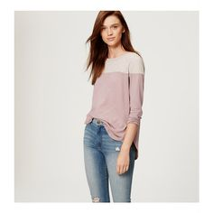 LOFT Petite Colorblock Shirttail Tee ($30) ❤ liked on Polyvore featuring tops, t-shirts, lavender silk, long sleeve tops, petite t shirts, crew neck t shirt, petite long sleeve tops and petite tops