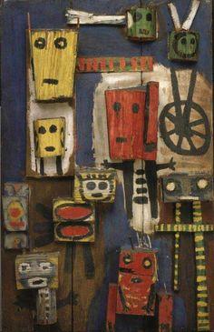 Karel Appel: Vragende kinderen, 1948. Dat kna mijn kleine zusje ook. Assemblage schilderen. Cobra, inspiratie prehistorie, volkskunst en middeleeuwen. Oprechte kunst. 'Ik rotzooi maar een beetje an'.