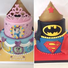 Half and half joint birthday cake. Hand cut logos and all handmade decorations Twin Birthday Cakes, Fourth Birthday, Birthday Ideas, Twins Cake, Handmade Decorations, Boy Or Girl, Birthdays, Batman, Princess