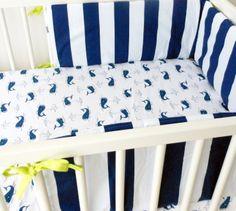 STORK navy crib bumper and sheet Jack
