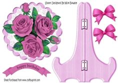 Pretty pink  roses with bows on lace plate   stand on Craftsuprint - View Now!