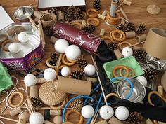 "Loose parts & heuristic play ("",)Let the kids play, you will be amazed what they think of to do with these"