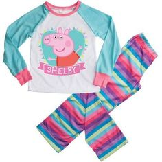 Personalized Peppa Pig Youth Girl Heart Loungewear, Size: Youth 5, Blue