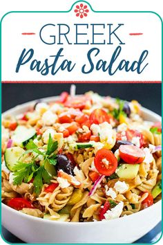 Greek Pasta Salad! All the flavors of classic Greek salad in a picnic-ready pasta salad! We've got kalamata olives, tomatoes, cucumber, and feta cheese, all tossed with pasta and a lemony dressing. This salad is easy to make ahead and pack up for your next backyard party. #greeksalad #pastasalad #simplyrecipes Savory Salads, Meal Salads, Simply Recipes, Simply Food, Greek Salad Pasta, Easy Delicious Recipes, Healthy Recipes, Best Side Dishes, Mediterranean Dishes