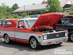 1971 chevy c10 in orange and white.  Or it might be red and white, as I'm colorblind.  (It is generally recommended that you lower the hood before driving.)