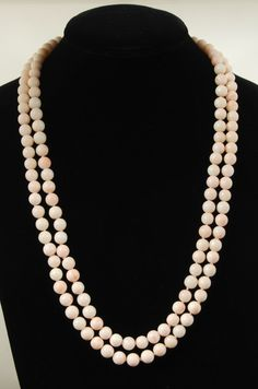 Vintage Double Strand Coral Necklace for auction. Pearl Necklace, Beaded Necklace, Auction, Coral, Canada, Pearls, Vintage, Jewelry, String Of Pearls