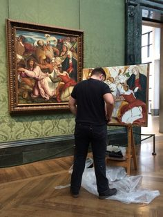 This guy recreating a famous piece of artwork at the National Gallery Museum with Mr. David Helfand