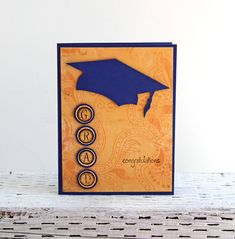 Graduation Card in Blue and Yellow Congratulations by CarolaBartz