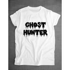 Ghost Hunter Spooky Halloween Pastel Goth T-Shirt ($20) ❤ liked on Polyvore featuring tops, t-shirts, white, women's clothing, pattern shirt, white tee, t shirts, pastel shirts and white shirt