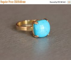 Gold turquoise ring  18k gold ring   blue Turquoise by Studio1980